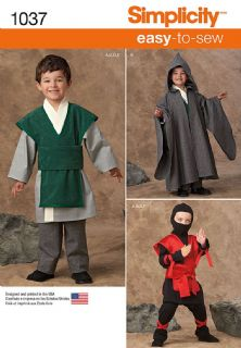 1037 Simplicity Pattern: Boys' Easy to Sew Costumes